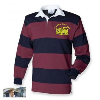 31 AES Embroidered Burgundy/Navy Stripped Rugby Shirt XL